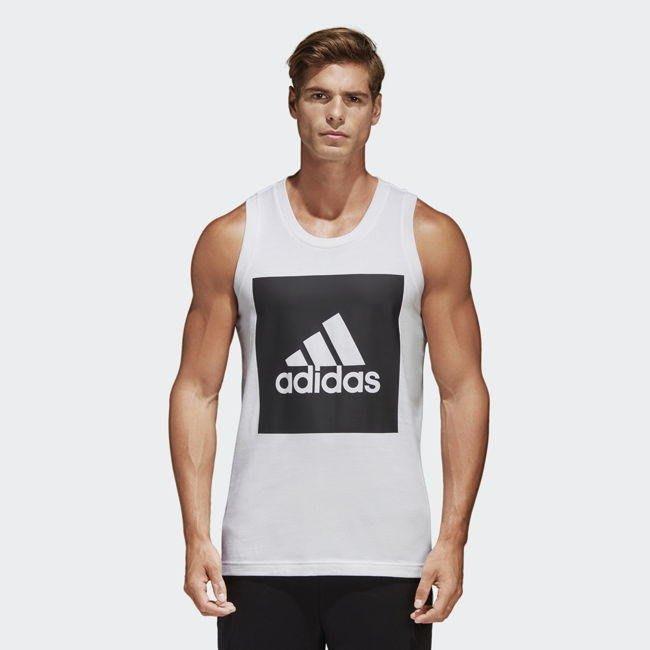 【AIRWINGS】ADIDAS S98704 男性白色黑框棉質背心 基本款Logo