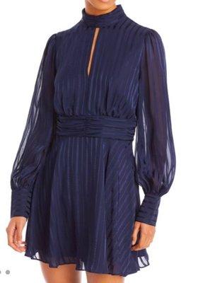 AQUA Striped Mock Neck Mini Dress 2/8止