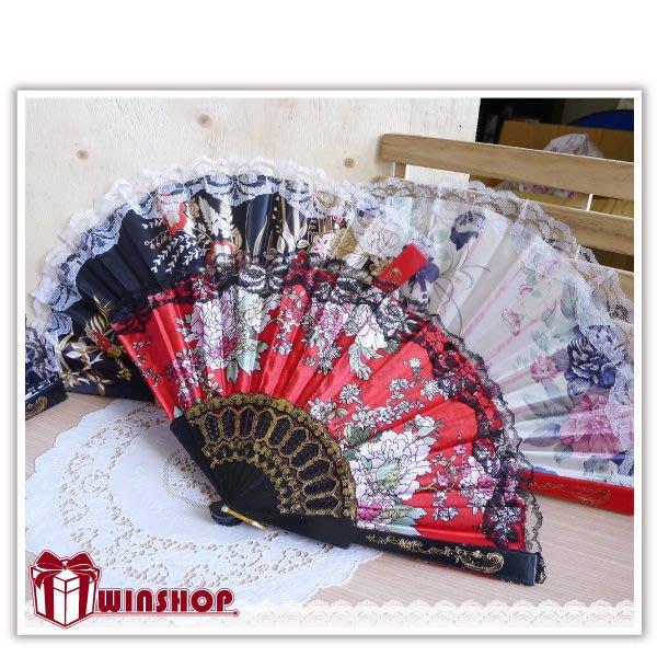 【贈品禮品】A2095 蕾絲邊繡花扇/西班牙布扇中國風復古扇手搖扇折扇扇子角色扮演表演