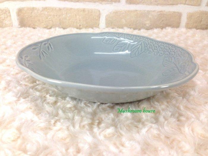 點點蘑菇屋 義大利WALD經典立體雕花大地色系列手繪高溫陶瓷(天空灰色)湯盤 水果盤 盤子 淺盤 現貨