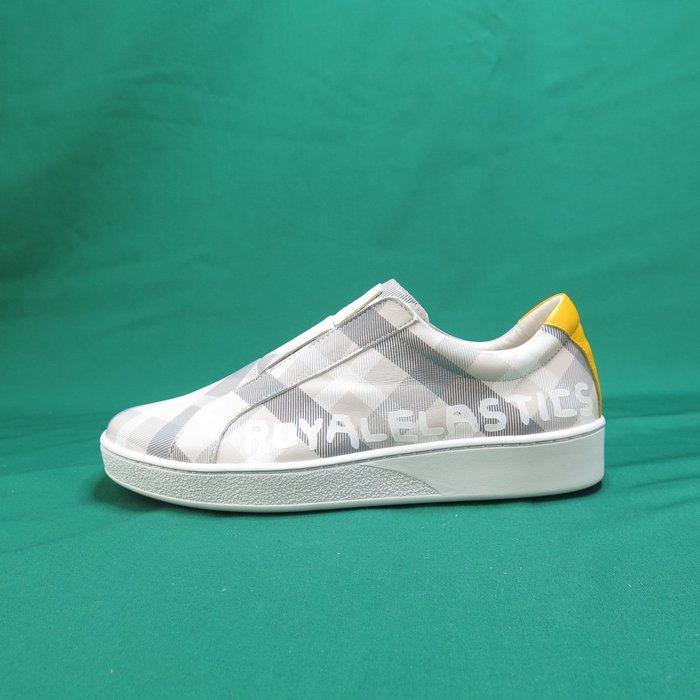 【iSport愛運動】Royal 無鞋帶 休閒鞋 正品 01791088 懶人鞋 格紋 男款 黃