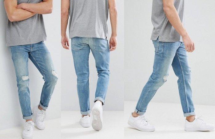 ◎美國代買◎ASOS雙膝刷破刷白刷色反摺褲口英倫時尚頹廢風淺藍刷色刷破牛仔褲~歐美街風~大尺碼~