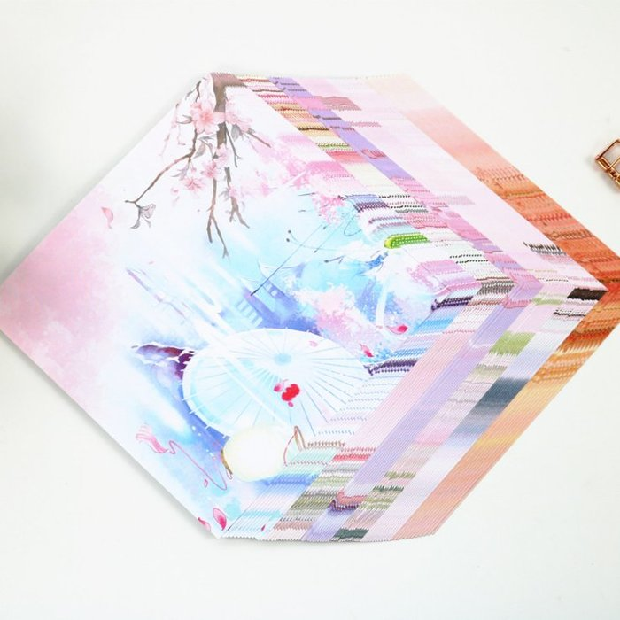 14.2厘米正方形雙面復古印花彩紙古風千紙鶴愛心折紙兒童卡紙材料