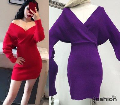 〔女裝現貨館〕性感雙V領蝙蝠袖針織包臀高腰長袖連身洋裝.短裙(紫3223)當日出貨