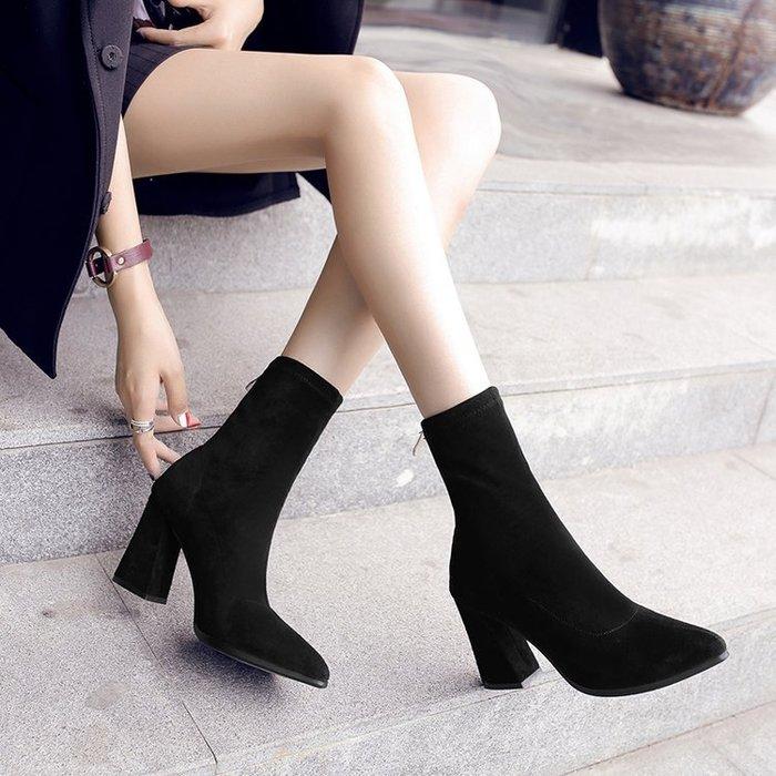 新款短靴秋冬粗跟彈力靴女靴高跟尖頭中筒靴英倫風馬丁靴子女-最右角落-可開發票-免運Al