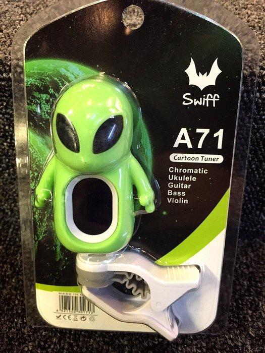 【名人樂器】外星人琴頭夾式 LED 調音器(綠色)