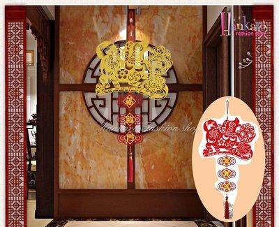 ☆[Hankaro]☆ 春節系列商品貼金不織布雕花鏤空狗年如意吊飾小尺寸(單一幅)
