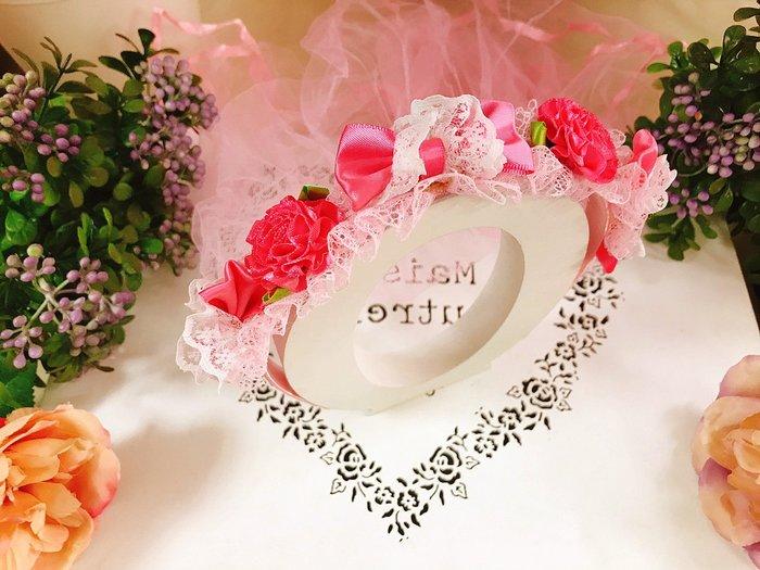 【華蕊】* F款桃粉蕾絲蝴蝶結髮箍頭紗 * 髮圈 小花童 公主頭紗 甜美 可愛 蕾絲 花環