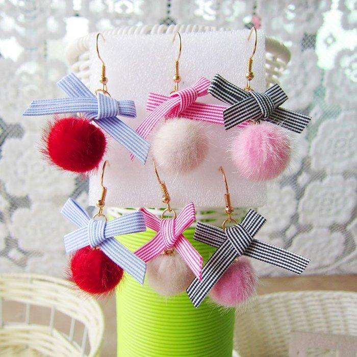 日韓時尚秋冬貂毛球耳環女甜美粉色氣質韓國個性潮人百搭長款超仙耳環