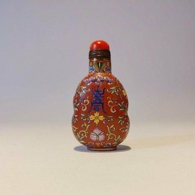 《金喜堂》紅琉璃壽字葫蘆形鼻煙壺