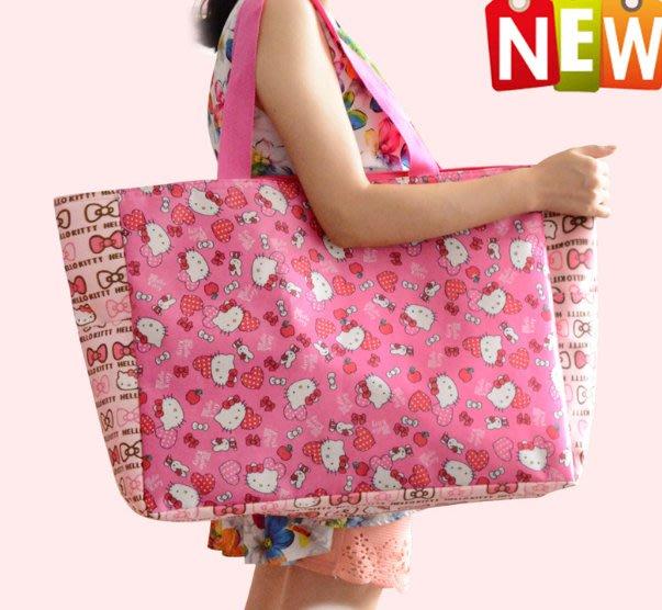 卡通購物袋超大號kt貓卡通可愛環保袋手提包行李袋折疊防水購物袋