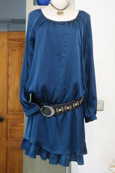 [C.M.平價精品館]M現貨/WEALTH NONOR山形屋精品女裝/好看藍色多層次裙擺長袖洋裝