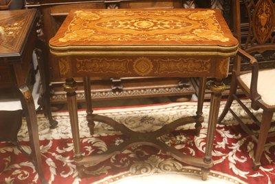 【家與收藏】稀有珍藏歐洲百年古董法國古典華麗精緻手工Inlaid木拼花銅雕鑲嵌遊戲桌