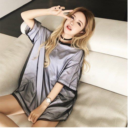 顯瘦雙層網紗短袖T恤DX183正韓洋裝一字領露肩性感