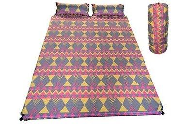 【二手燒貨】DJ7619 波西米亞 雙人自動充氣床墊 附兩個充氣枕 6公分厚 露營用品 氣墊床 睡墊