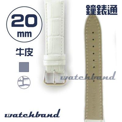 【鐘錶通】C1.81AA《霧面系列》鱷魚格紋-20mm 霧面白┝手錶錶帶/皮帶/牛皮錶帶┥