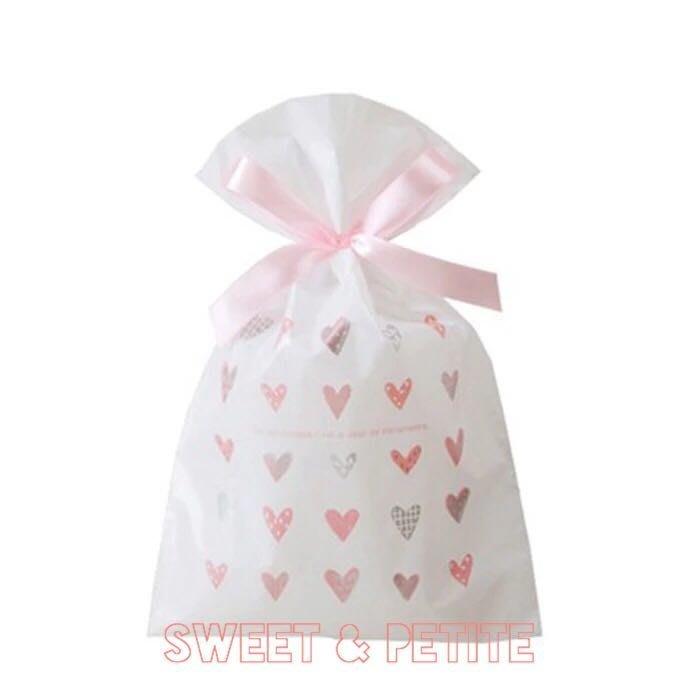 現+預購MA20❤(L)簡潔風格愛心蝴蝶結緞帶束口袋❤禮品袋 回禮袋 束口繩包裝袋塑膠袋/兒童生日派對糖果餅乾交換禮物袋