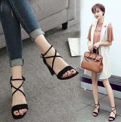 涼鞋女中跟高跟鞋 新款夏季韓版百搭學生粗跟一字扣帶羅馬涼鞋女鞋—莎芭