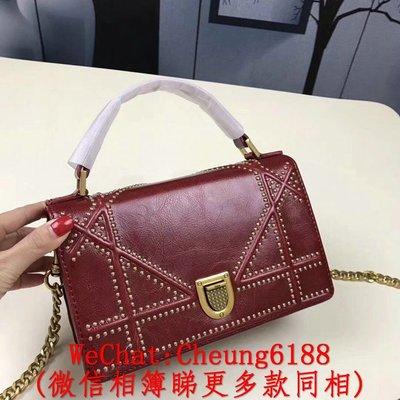 頂級 Dior M5000 紅色 原版油蠟牛皮內裡麂皮 古銅鏈 鉚釘 盾牌翻蓋手提款單肩包斜背包