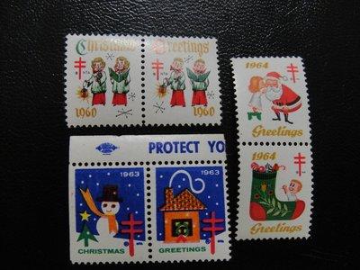 【大三元】美洲郵票-19660.1963.1964年防癆郵票-新票3套二方連