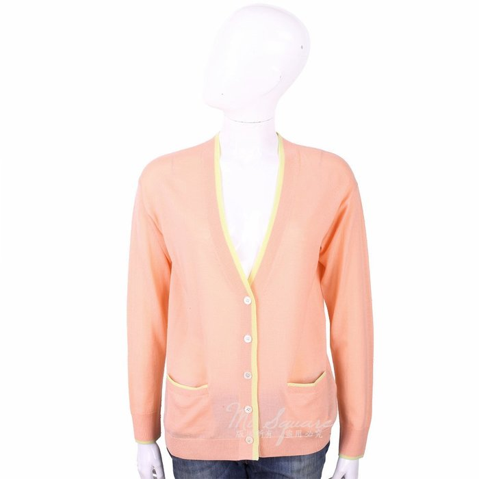 米蘭廣場 ALLUDE 100%羊毛粉橘色補丁細節針織外套 1740242-39