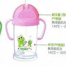 【魔法世界】【DOOBY大眼蛙】神奇喝水杯 250ml 綠/粉 學習杯 + 250ml 替換吸管 組合
