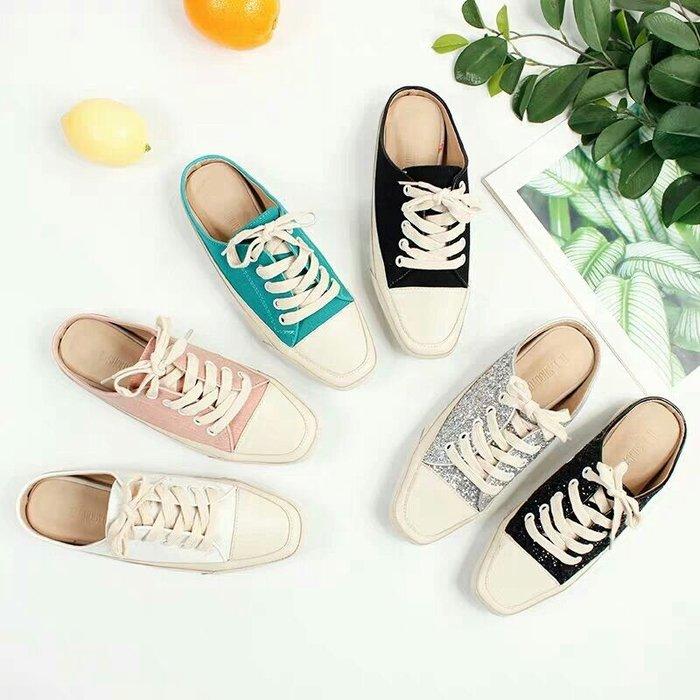 韓國東大門爆款真皮帆布穆勒鞋半拖鞋懶人鞋(2款)