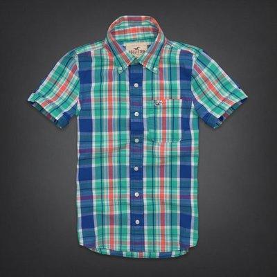 【天普小棧】HOLLISTER HCO Tide Beach Shirt 短袖格紋襯衫 L號