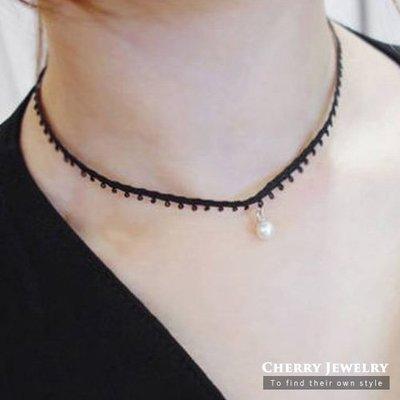 白色珍珠花邊造型頸鍊 項鍊 10321【櫻桃飾品】【10321】