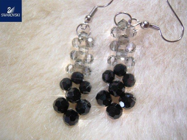※水晶玫瑰※ SWAROVSKI 地球珠水晶 耳勾式耳環(DD381)