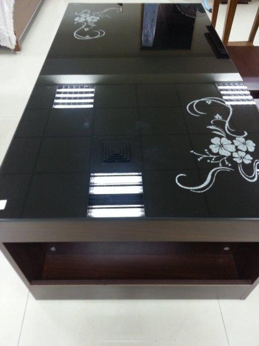 新竹二手家具店-來來 全新 4尺 黑色玻璃茶几 竹北 二手 傢俱買賣 沙發 茶几 書櫃 衣櫥 冰箱 洗衣機 二手家電收購