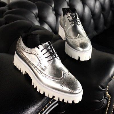 皮鞋 真皮休閒雕花厚底鞋-酷炫銀色時尚巴洛克男鞋73kv15[獨家進口][米蘭精品]