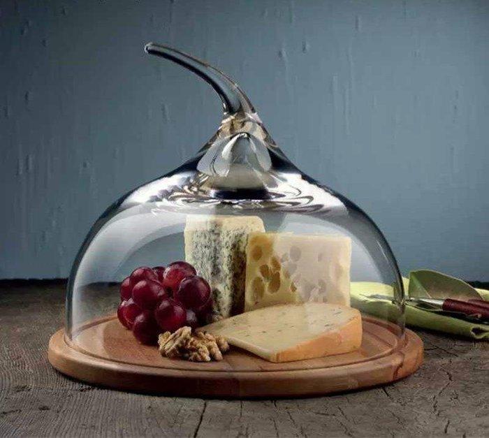 手作水晶玻璃罩原木座蛋糕盤點心盤玻璃罩