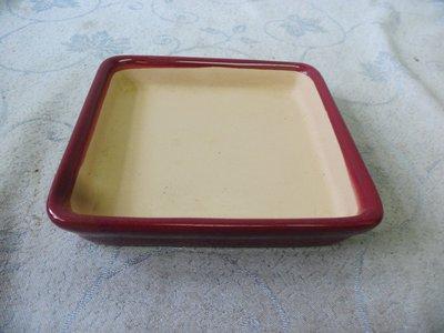 紫色小館38--------早期陶盤{紅色}正方形