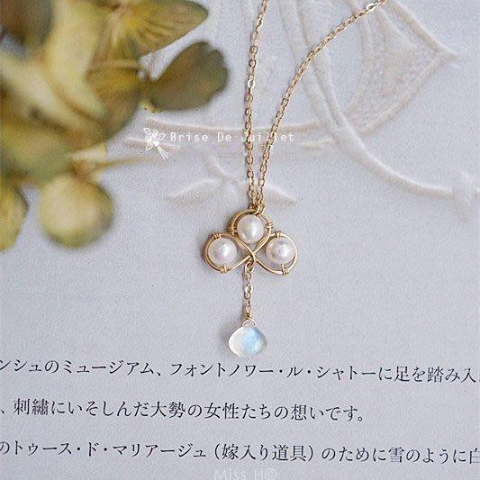 FJ81-法式手工輕珠寶-寒香。珍珠梅花形+月光石手工繞線項鍊va agete leboy