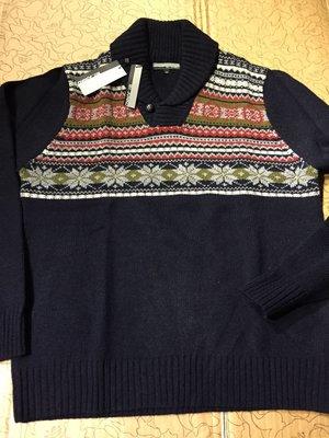 [變身館日本服飾]~Mr. JUNKO~雪花~針織衫~毛衣~上衣~民族風~木釦~日本購入~全新現品~出清價~M~深藍