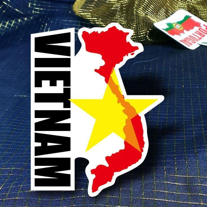 【國旗貼紙專賣店】越南國旗地圖抗UV、防水行李箱貼紙/Vietnam/多國款可訂製
