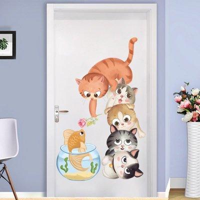 ~甜心~貓咪和小魚兒童房間幼兒園墻面裝飾品墻貼畫客廳房間溫馨自粘貼紙貼紙 居家裝飾 可愛日系韓國正韓韓系 壁貼工廠