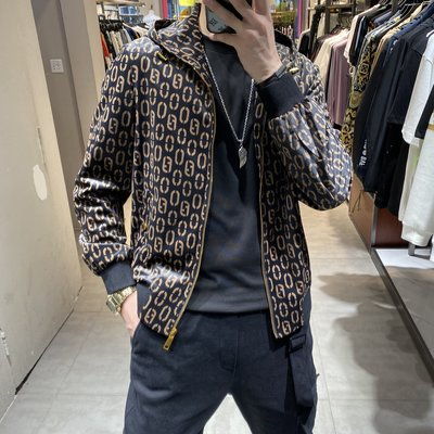 歐韓貨2021歐洲站時尚秋季男裝歐美個性潮流印花絲絨外套修身連帽夾克潮