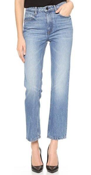 ◎美國代買◎Denim x Alexander Wang Cult Cropped藍大腿微波紋刷色高腰直筒九分牛仔褲