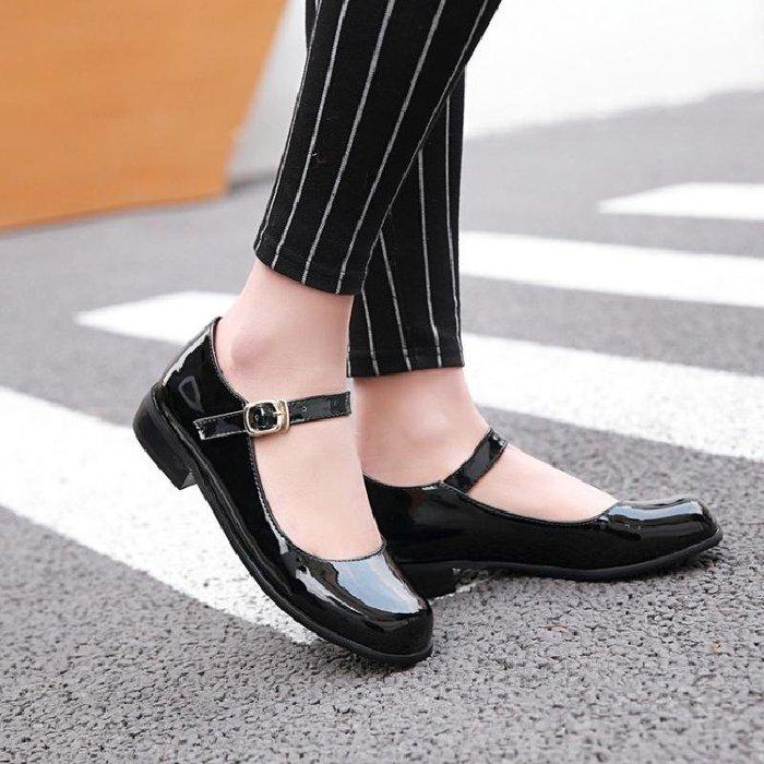 韓版甜美公主淺口平底鞋大童少女皮鞋女初中學生黑紅色表演鞋