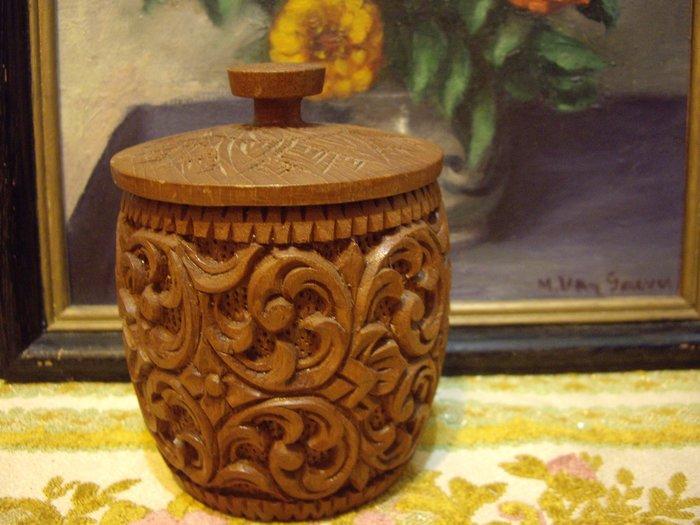 歐洲古物時尚雜貨 收納木盒 木頭雕花圓桶木製品 手工藝品 擺飾品 古董收藏