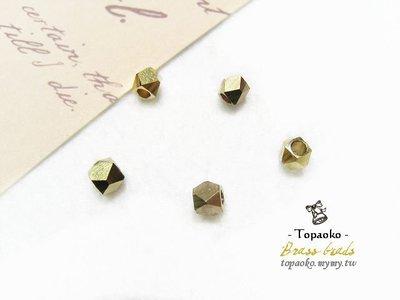 《晶格格的多寶格》串珠材料˙隔珠配件 實心黃銅方切角珠一份(10P)【F7161】4mm