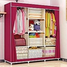 全館折扣 索爾諾布衣櫃鋼管加固加粗簡易布藝衣櫃大號防塵雙人組合收納衣櫥igo