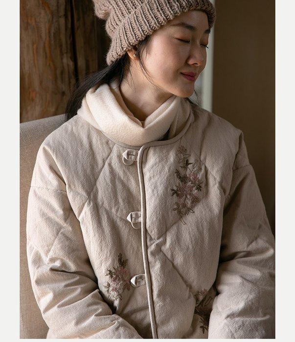 【子芸芳】原創設計棉麻文藝復古冬外套刺繡95白鵝絨羽絨服外套