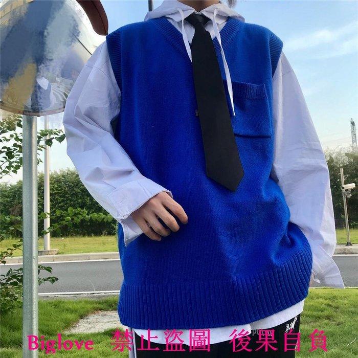韓國復古百搭V領藍色針織背心毛衣馬甲 18AW男女款