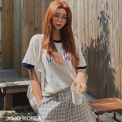 正韓 拼色滾邊字母短袖T恤 2色 設計精品代購 韓國連線 JOJO KOREA 05B503-LAG