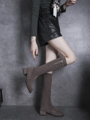 2019新款秋季顯瘦百搭長靴女粗跟瘦瘦靴中跟圓頭側拉鏈長筒靴子女