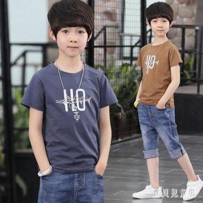 【歐慕家居】男童休閒套裝夏款時尚新款中大童兒童洋氣兩件套牛仔短褲