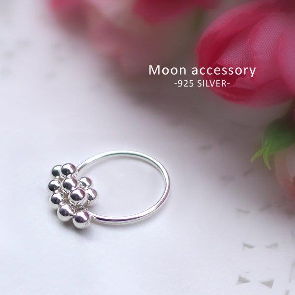 乾一s925純銀戒指銀豆豆珠珠指環 女士時尚個性小珠子細款尾戒指食戒